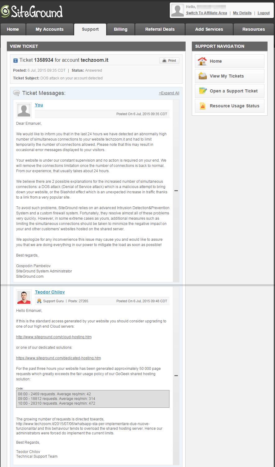 Risposta assistenza Siteground
